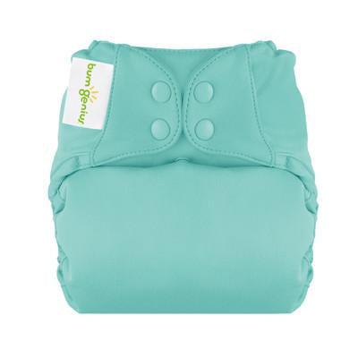 mirror turquoise elemental organic cotton all in one nappy by bum genius