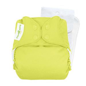 bright yellow tennis ball coloured pocket nappy by bum genius