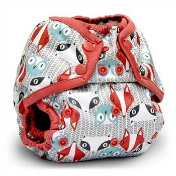 fox and badger print nappy cover with popper fastening