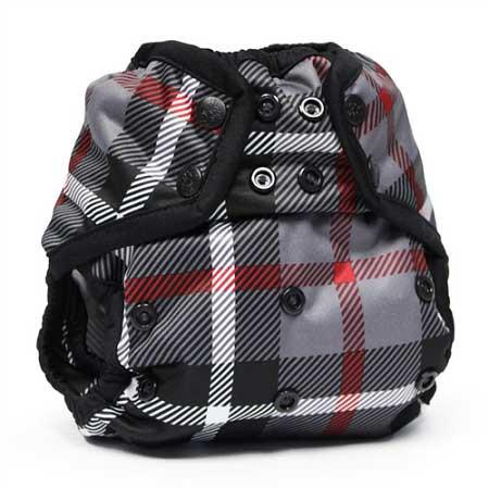 black plaid print nappy cover with popper fastening