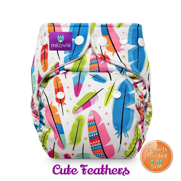 cute feather print pocket nappy by milovia coolmax
