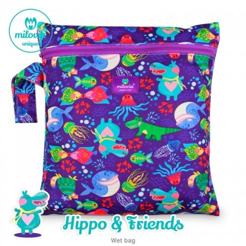 blue hippo and friends print nappy wetbag for storing cloth nappies