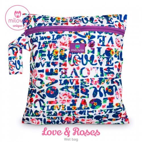 love and roses print wetbag for storing cloth nappies by Milovia