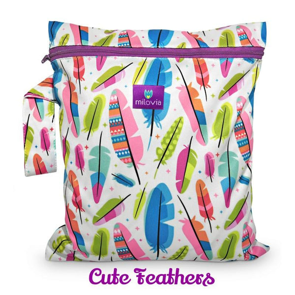 cute feathers print wetbag for storing cloth nappies by Milovia