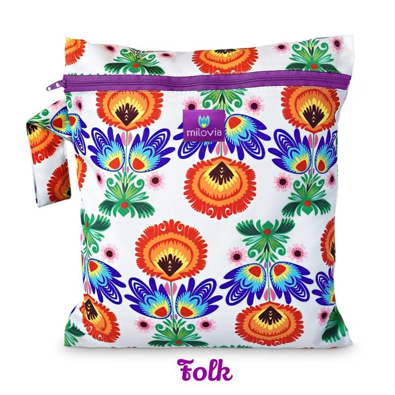 traditional Polish folk print wetbag for storing cloth nappies by Milovia