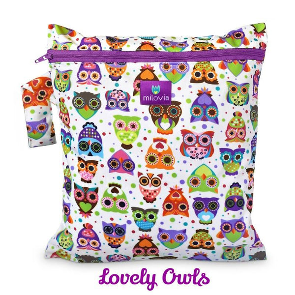 lovely owl print wetbag for storing cloth nappies by Milovia