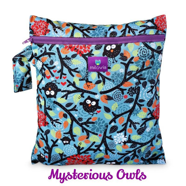 blue mysterious owl print wetbag for storing cloth nappies by Milovia