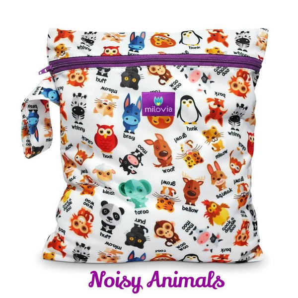 noisy animal print wetbag for storing cloth nappies by Milovia