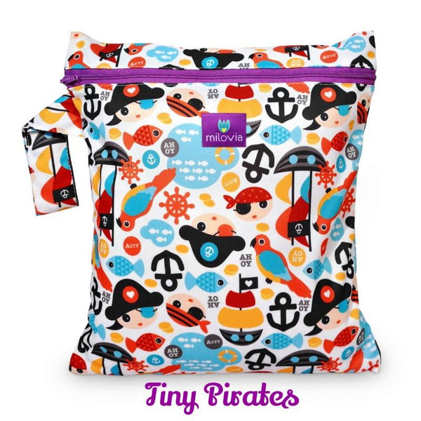 cute pirate print wetbag for storing cloth nappies by Milovia