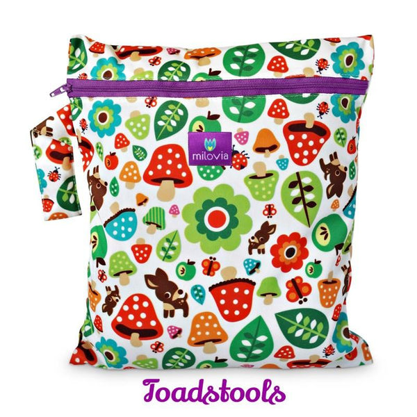 woodland toadstool print wetbag for storing cloth nappies by Milovia