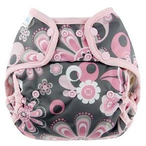 pink and grey floral print double gusset wrap for use with cloth nappies