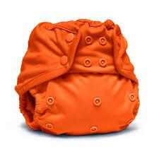orange coloured nappy cover with popper fastening