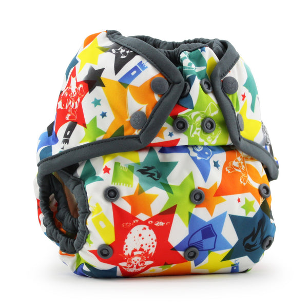 bold dragon multi coloured print nappy cover with popper fastening
