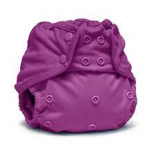 bold purple coloured nappy wrap with popper fastening