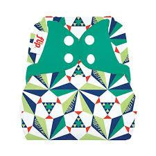 a bold geometric print sierspinksi nappy cover with poppers by flip
