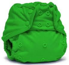 bright green coloured nappy cover with popper fastening