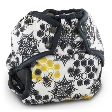 bee and honeycomb print nappy cover with popper fastening
