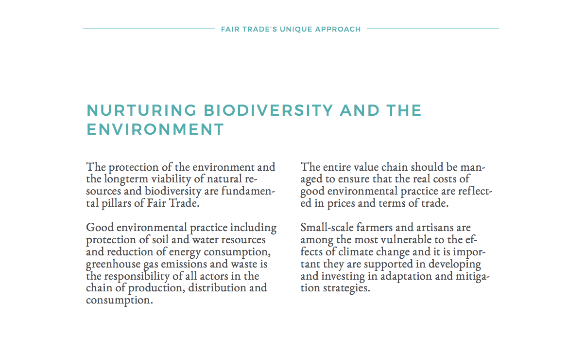 Fair Trade Approach: Nurturing Biodiversity and the Environment