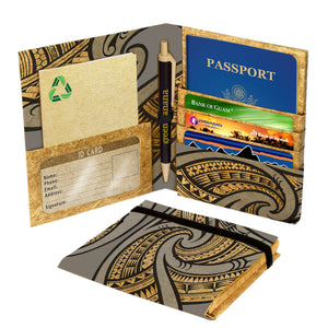 Vegan Passport Holder and Travel Organizer (Tribal Grey) by Green Banana Papaer