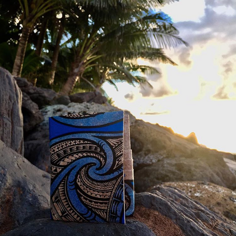 tribal blue travel wallet