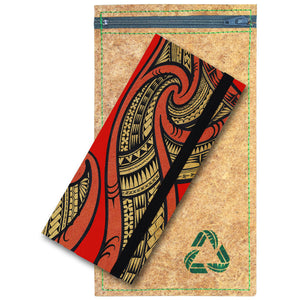 Women's tribal red long clutch wallet vegan-friendly and cruelty-free