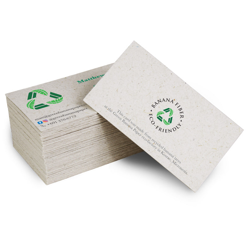 business cards  green banana paper