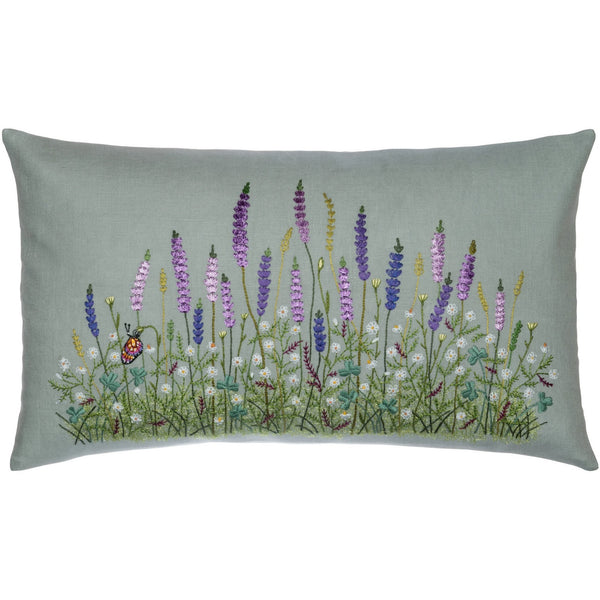 Floral Lavender Embroidery Pillow 12X20""