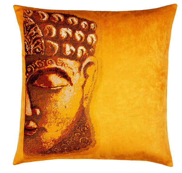 Buddha Golden Needlepoint Pillow 18X18""