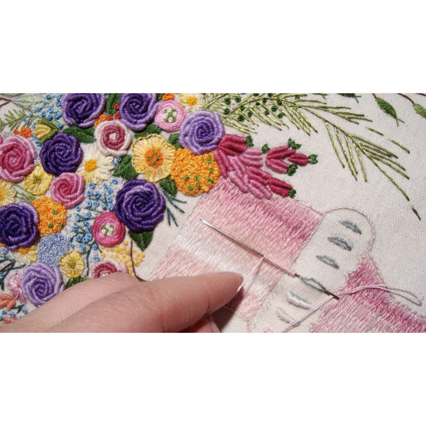 """Bouquet purple"" textile picture embroidered 12x16"""