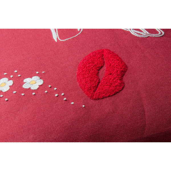 "Love pillow embroidered 12x20"" pompom trimmed"