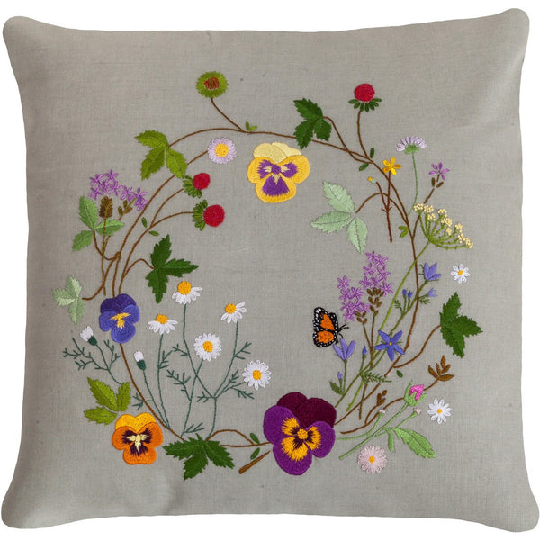 "Floral Embroidery Pillow grey 18""X18"""