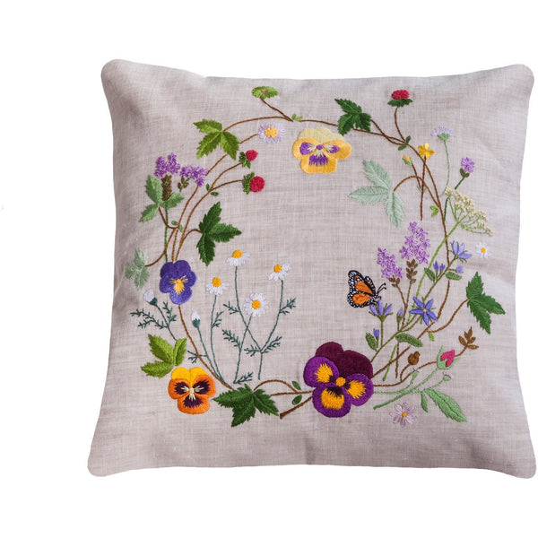 "Floral Embroidery Pillow light grey 14""X14"""
