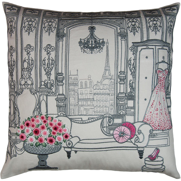 Paris embroidered pillow 18x18""