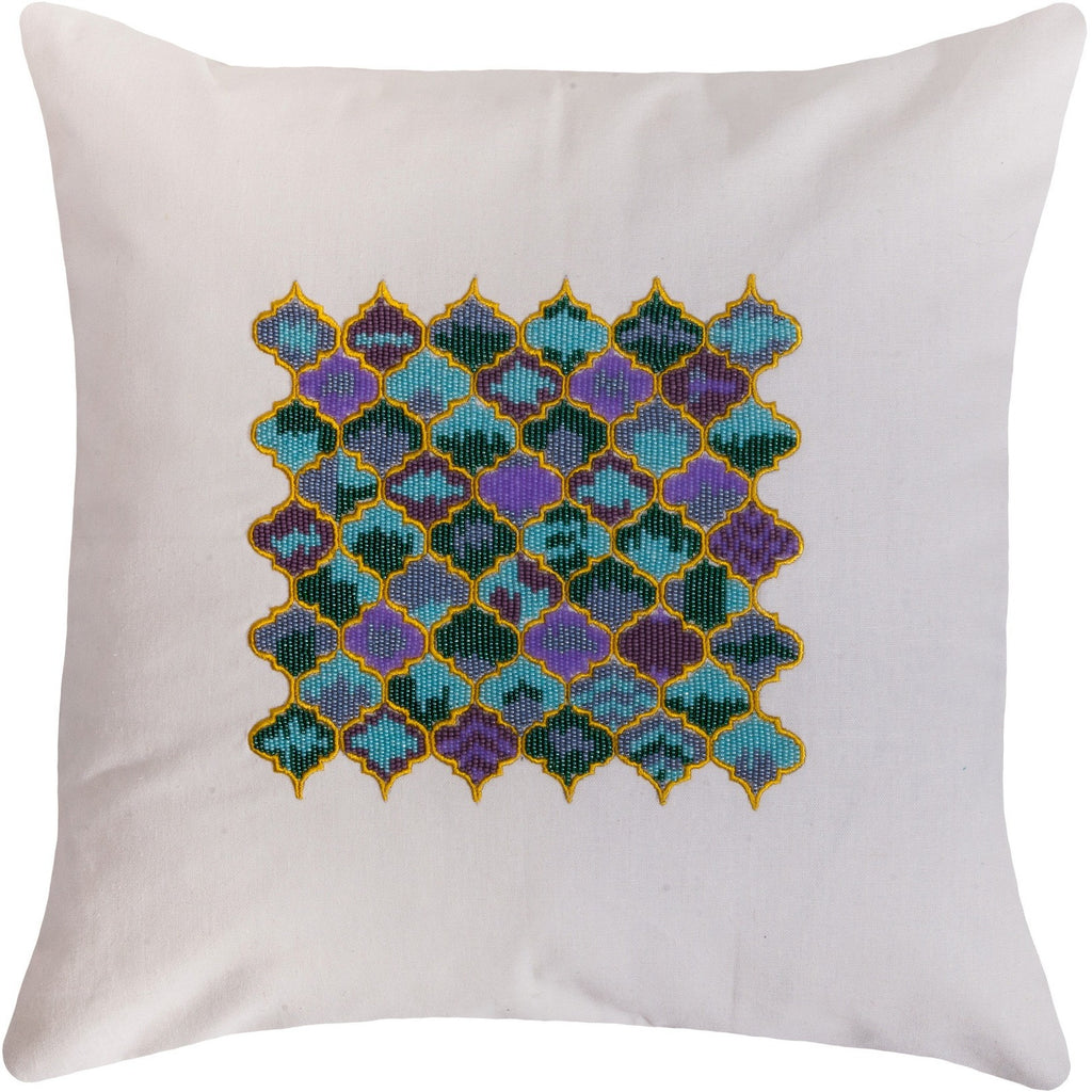 Beads embroidered pillow turquoise 18x18""