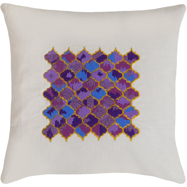 Set of 2: Beads embroidered pillows 18x18""