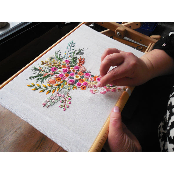 """Bouquet pink"" textile picture embroidered 12x16"""