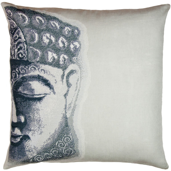 Buddha Silver Needlepoint Pillow 18X18""