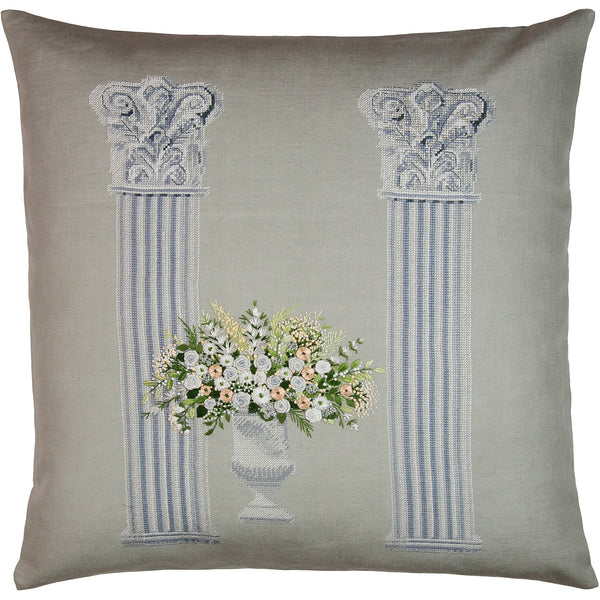 """Columns"" bouquet natural needlepoint & embroidery pillow 18x18"""