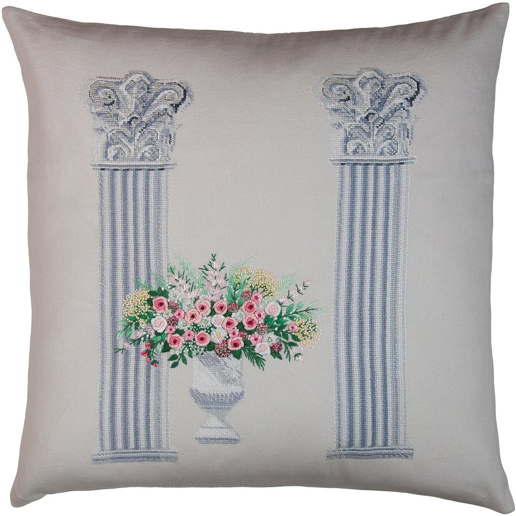 """Columns"" bouquet pink needlepoint & embroidery pillow 18x18"""