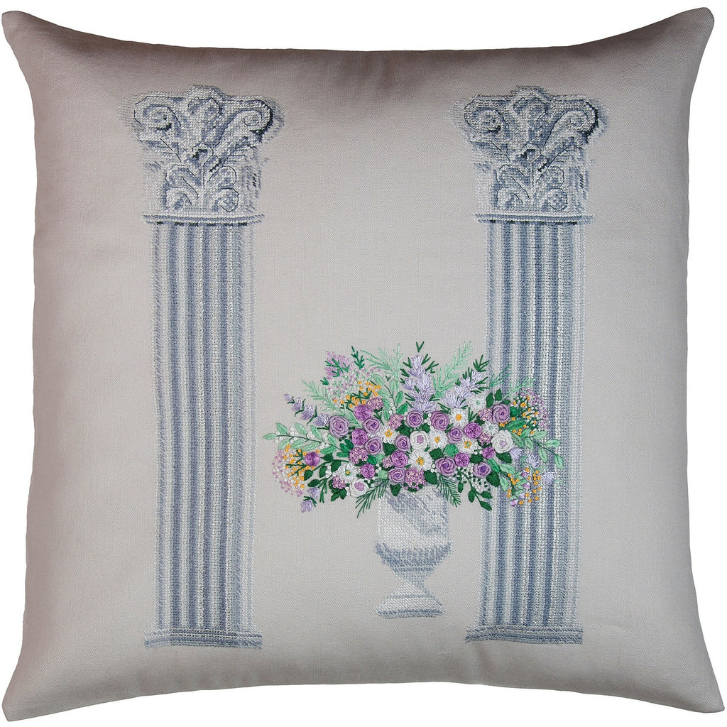 """Columns"" bouquet purple needlepoint & embroidery pillow 18x18"""