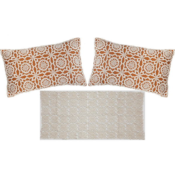 Set of 3: Crochet Pillows & Table runner