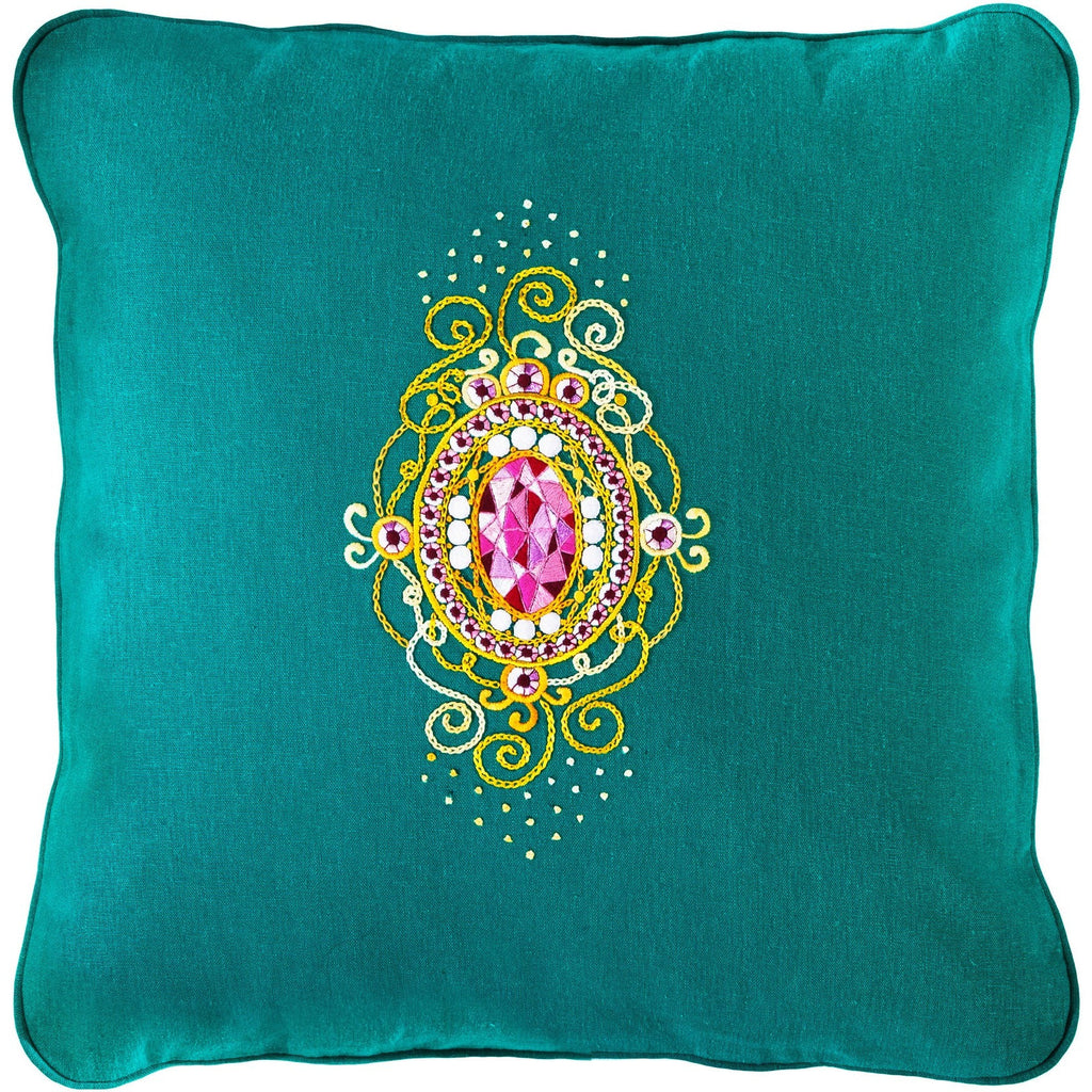 Gems&Gold Embroidery Pillow light 18X18""