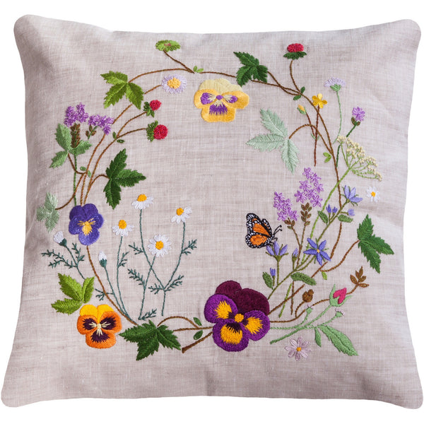 "Floral Embroidery Pillow light grey 18""X18"""