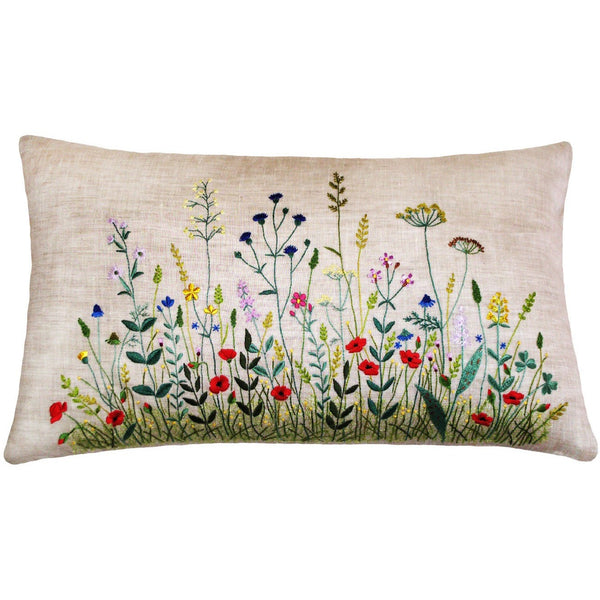 "Floral field Embroidery Pillow light grey 12""X20"""