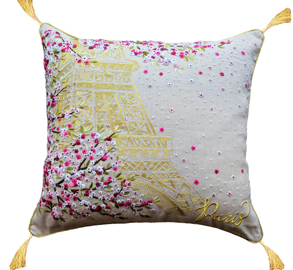 Paris in Blossom embroidered pillow 18x18""
