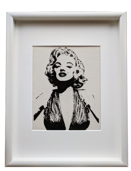 """Monroe"" textile picture embroidered 12x16"""