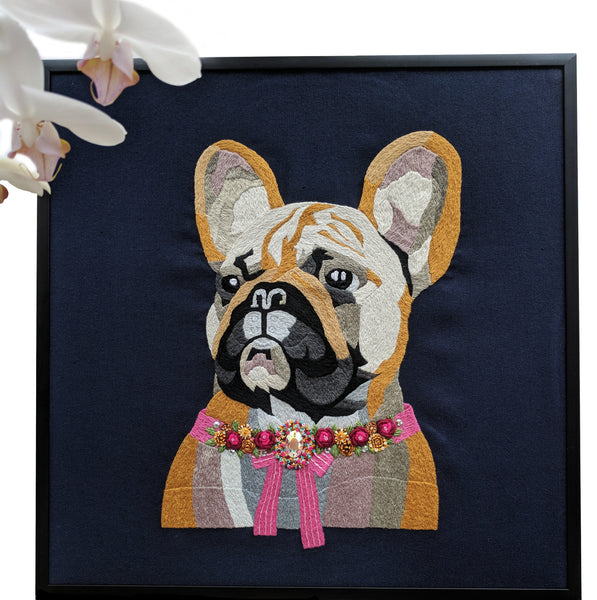 """Bulldog"" Textile embroidered picture 12 1/2x12 1/2"""