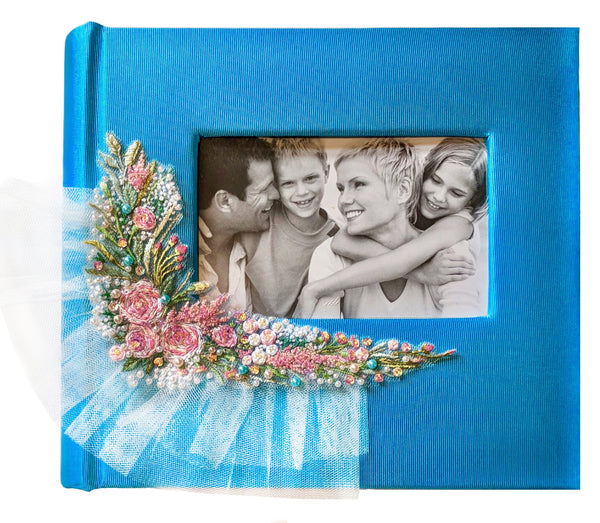 Embroidered &beaded Tulle Wedding Photo album decoration