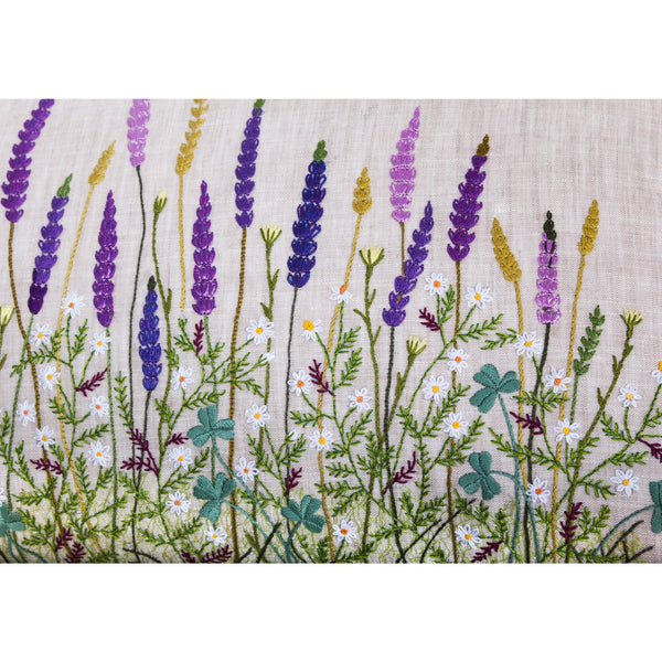 Floral Lavender Embroidery Pillow light grey 12X20""