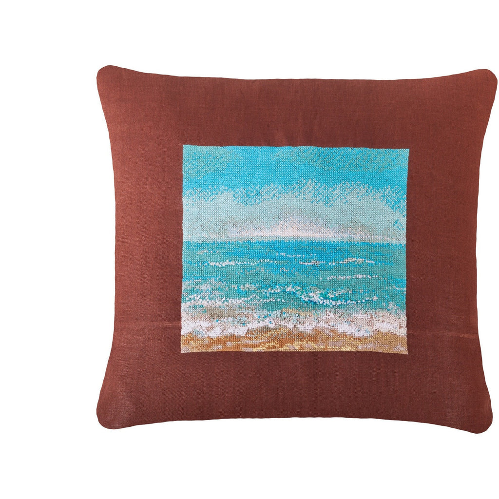 Seaside 3D Needlepoint Pillow 18X18""